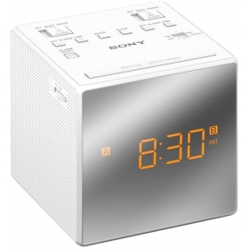 Sony ICF-C1T FM/AM Dual Alarm Clock Radio with Mirror Finish - White